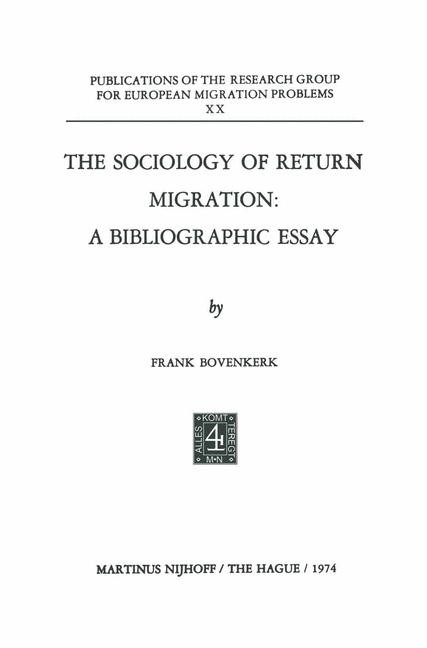 The Sociology of Return Migration: A Bibliographic Essay | Bovenkerk, 1975 | Buch (Cover)