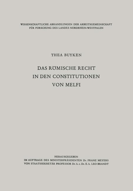 Das römische Recht in den Constitutionen von Melfi, 1960 | Buch (Cover)