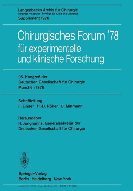 95. Kongreß der Deutschen Gesellschaft für Chirurgie, München, 3. bis 6. Mai 1978 | Junghanns, 1978 | Buch (Cover)