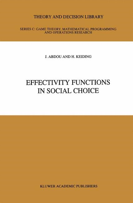 Effectivity Functions in Social Choice | Abdou / Keiding, 2012 | Buch (Cover)