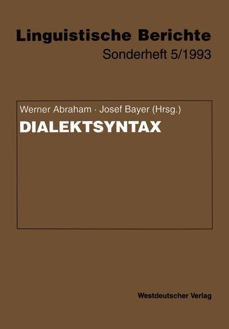 Dialektsyntax | Abraham / Bayer, 1993 | Buch (Cover)