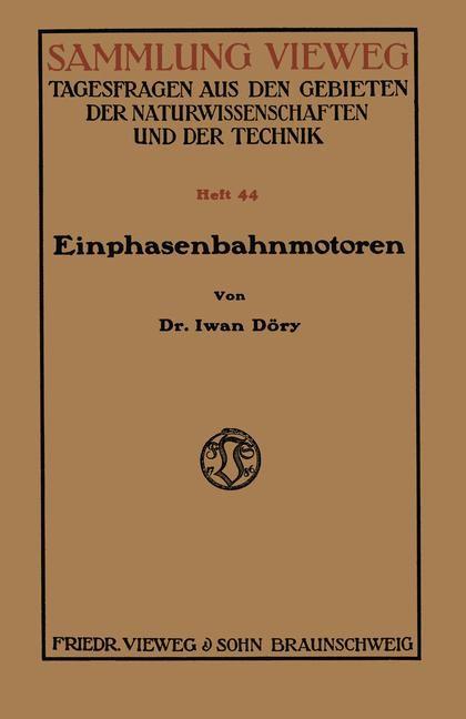 Einphasenbahnmotoren | Döry, 1919 | Buch (Cover)