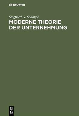 Abbildung von Schoppe | Moderne Theorie der Unternehmung | Reprint 2018 | 1995