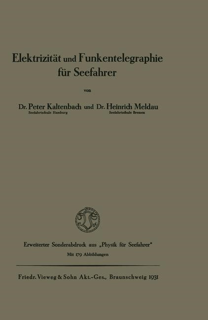 Elektrizität und Funkentelegraphie für Seefahrer | Kaltenbach, 1931 | Buch (Cover)