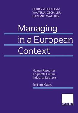 Abbildung von Schreyögg / Oechsler / Wächter   Managing in a European Context   1996   1996   Human Resources — Corporate Cu...