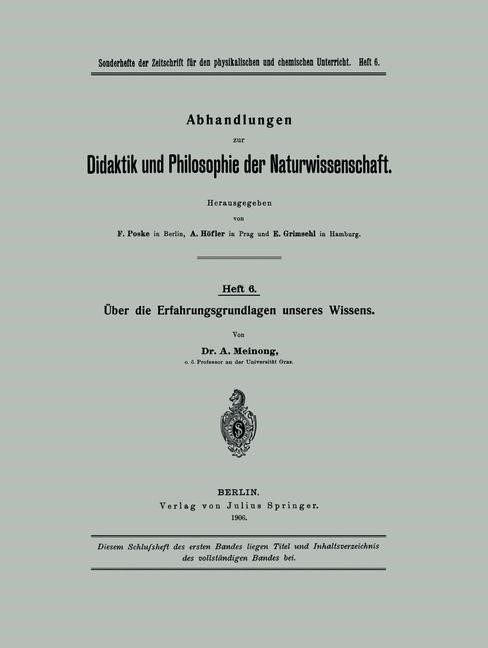 Abbildung von Meinong | Über die Erfahrungsgrundlagen unseres Wissens | 1906