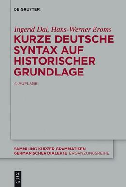 Abbildung von Dal / Eroms   Kurze deutsche Syntax auf historischer Grundlage   4. Auflage   2014   beck-shop.de