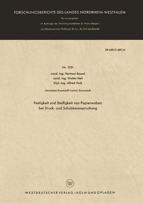 Festigkeit und Steifigkeit von Papierwaben bei Druck- und Schubbeanspruchung   Bossel, 1962   Buch (Cover)