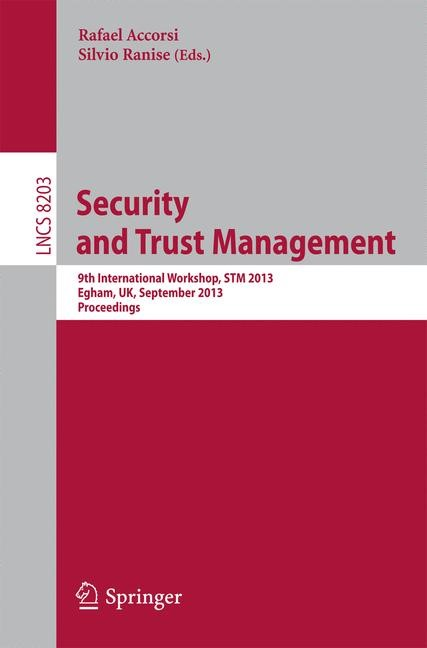 Security and Trust Management | Accorsi / Ranise, 2013 | Buch (Cover)