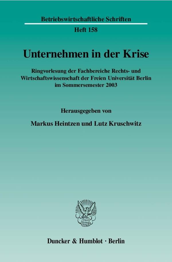 Abbildung von Heintzen / Kruschwitz   Unternehmen in der Krise   2004