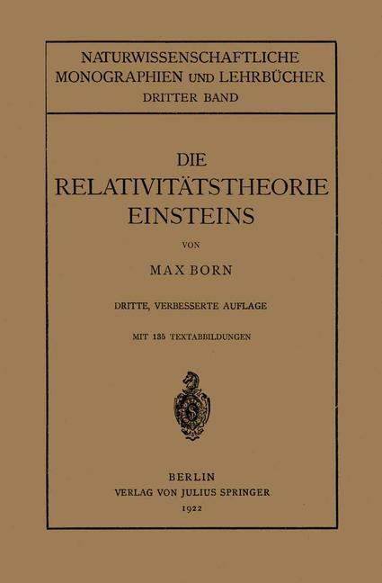 Die Relativitätstheorie Einsteins und Ihre Physikalischen Grundlagen | Born, 1922 | Buch (Cover)