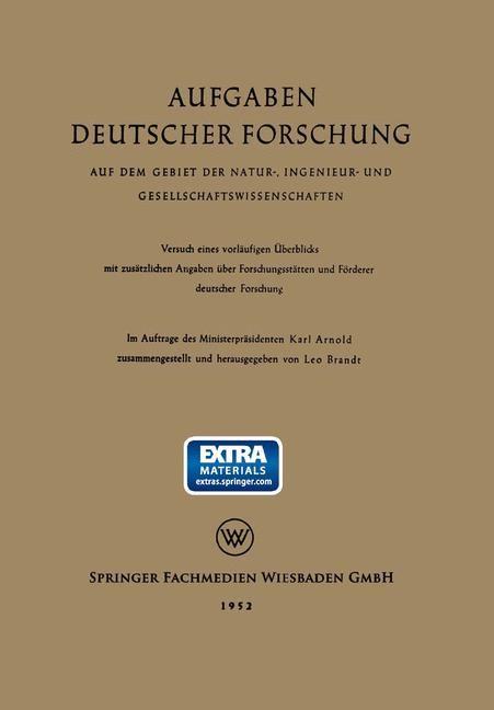 Aufgaben Deutscher Forschung | Brandt / Arnold, 1952 | Buch (Cover)