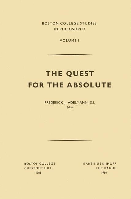 The Quest for the Absolute | Adelmann, 1966 | Buch (Cover)