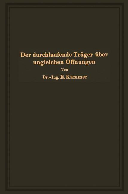 Der durchlaufende Träger über ungleichen Öffnungen   Kammer, 1926   Buch (Cover)