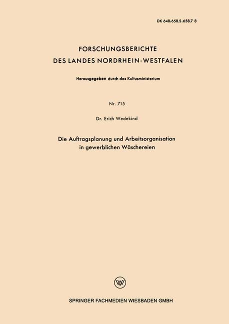 Die Auftragsplanung und Arbeitsorganisation in gewerblichen Wäschereien | Wedekind, 1959 (Cover)