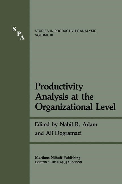 Productivity Analysis at the Organizational Level | Adam / Dogramaci, 2011 | Buch (Cover)