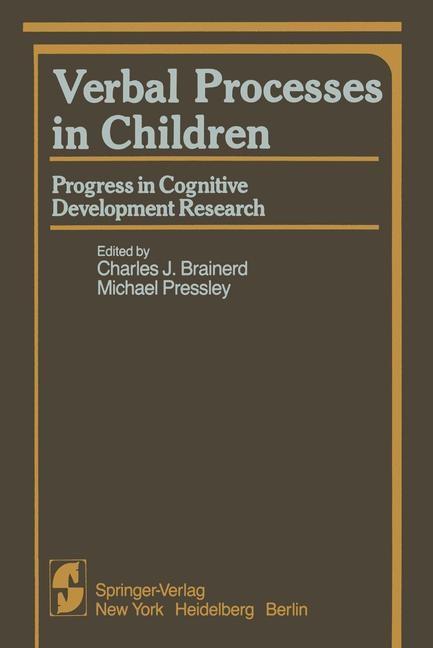 Verbal Processes in Children | Brainerd / Pressley, 2011 | Buch (Cover)