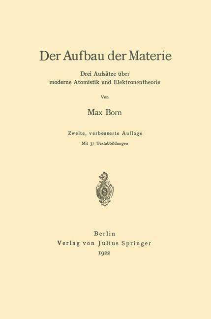 Der Aufbau der Materie | Born, 1922 | Buch (Cover)