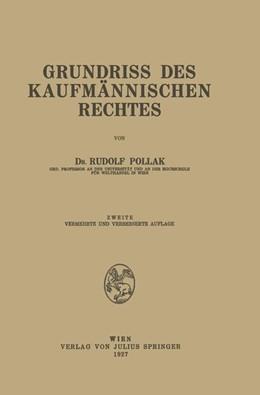 Abbildung von Pollak | Grundriss des Kaufmännischen Rechtes | 1927