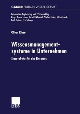 Abbildung von Klosa | Wissensmanagementsysteme in Unternehmen | 2001 | State-of-the-Art des Einsatzes