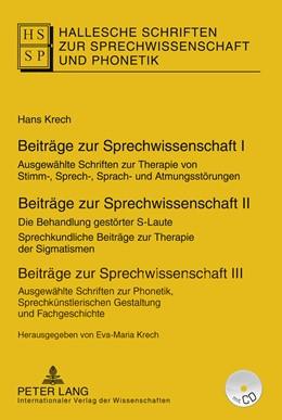 Abbildung von Krech | Beiträge zur Sprechwissenschaft I–III | 2016 | Ausgewählte Schriften zur Ther...