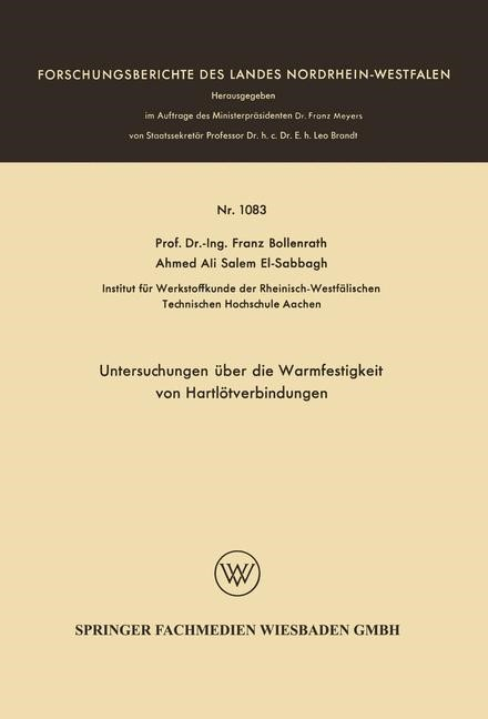 Abbildung von Bollenrath | Untersuchungen über die Warmfestigkeit von Hartlötverbindungen | 1963