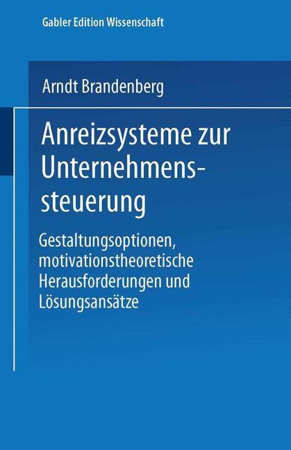 Anreizsysteme zur Unternehmenssteuerung | Brandenberg, 2001 | Buch (Cover)