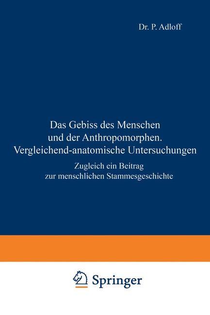 Abbildung von Adloff   Das Gebiss des Menschen und der Anthropomorphen. Vergleichend-anatomische Untersuchungen   1908