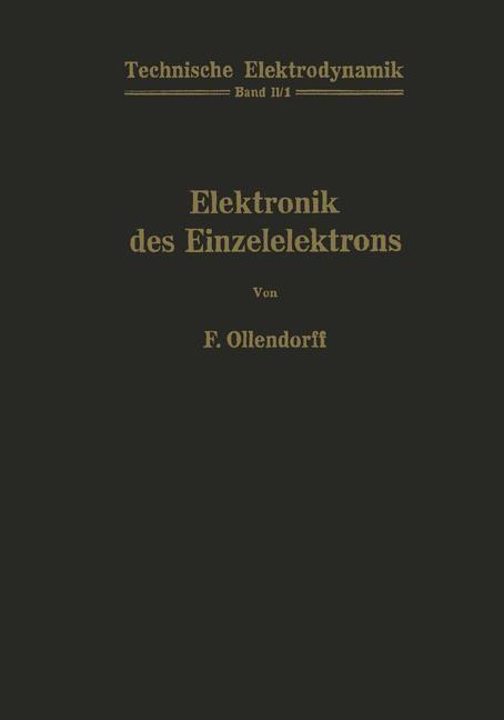 Innere Elektronik Erster Teil Elektronik des Einzelelektrons | Ollendorff, 2012 | Buch (Cover)