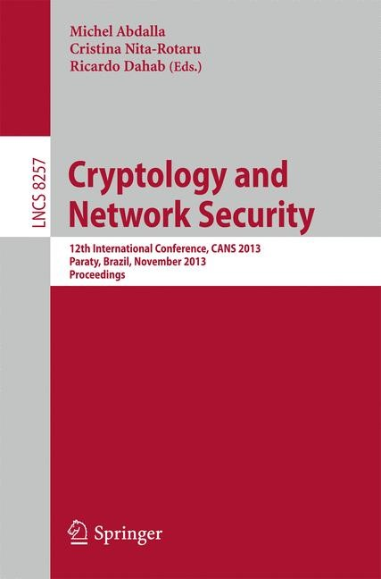 Cryptology and Network Security | Abdalla / Nita-Rotaru / Dahab, 2013 | Buch (Cover)