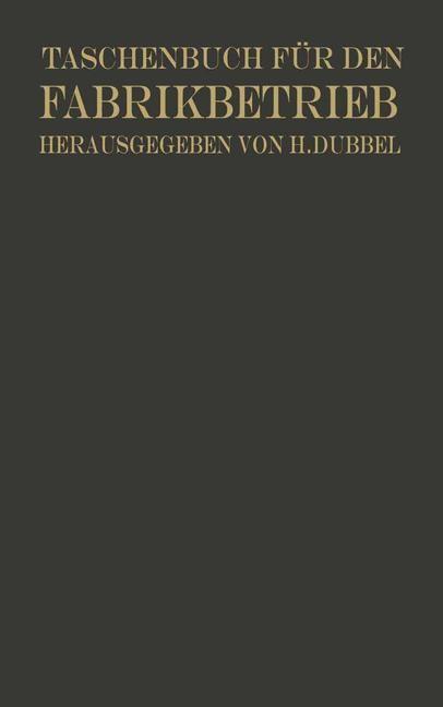 Taschenbuch für den Fabrikbetrieb | Brandt / Dubbel, 1923 | Buch (Cover)