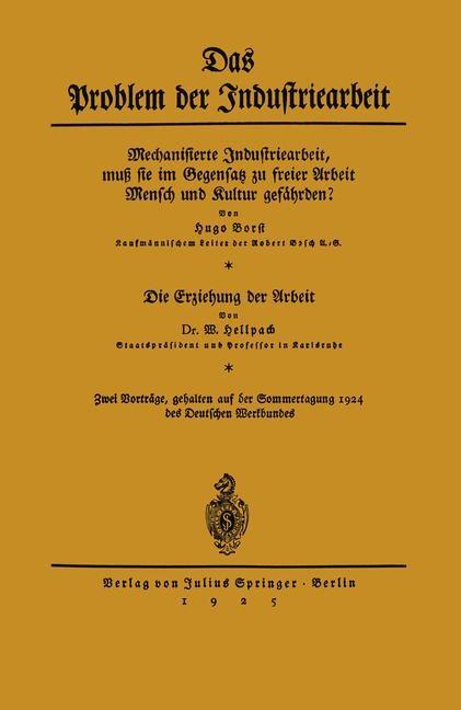 Das Problem der Industriearbeit | Borst / Hellpach, 1925 | Buch (Cover)