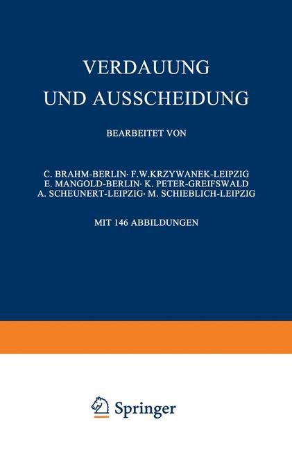Verdauung und Ausscheidung | Brahm / Krzywanek / Mangold, 1929 | Buch (Cover)