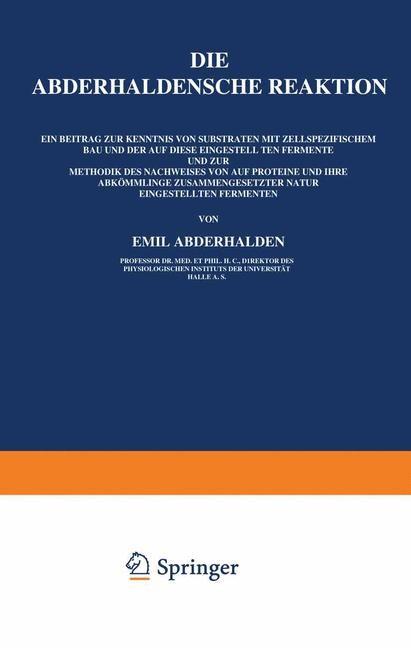 Die Abderhaldensche Reaktion | Abderhalden, 1922 | Buch (Cover)