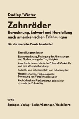 Abbildung von Dudley   Zahnräder   2012   Berechnung, Entwurf und Herste...