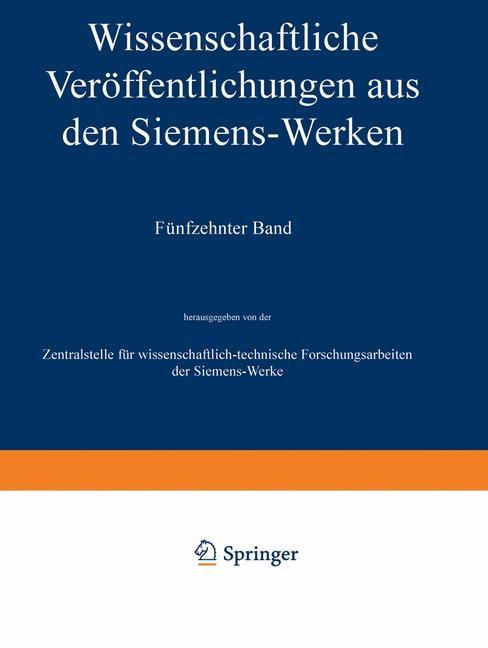 Wissenschaftliche Veröffentlichungen aus den Siemens-Werken | Boul / Forschungsarbeiten des Siemens-Konzerns / Fellinger, 1936 | Buch (Cover)
