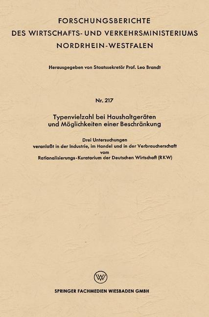 Typenvielzahl bei Haushaltgeräten und Möglichkeiten einer Beschränkung | Brandt, 1956 | Buch (Cover)