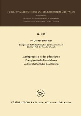 Abbildung von Schönauer | Marktprozesse in der öffentlichen Energiewirtschaft und deren volkswirtschaftliche Beurteilung | 1963 | 1155