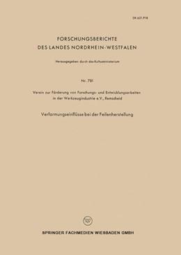 Abbildung von Verformungseinflüsse bei der Feilenherstellung | 1959 | 781