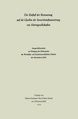 Abbildung von Giersch | Der Einfluß der Besteuerung auf die Quellen der Investitionsfinanzierung von Aktiengesellschaften | 1961 | 1959