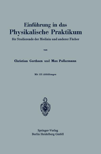 Abbildung von Gerthsen / Pollermann   Einführung in das Physikalische Praktikum   1941