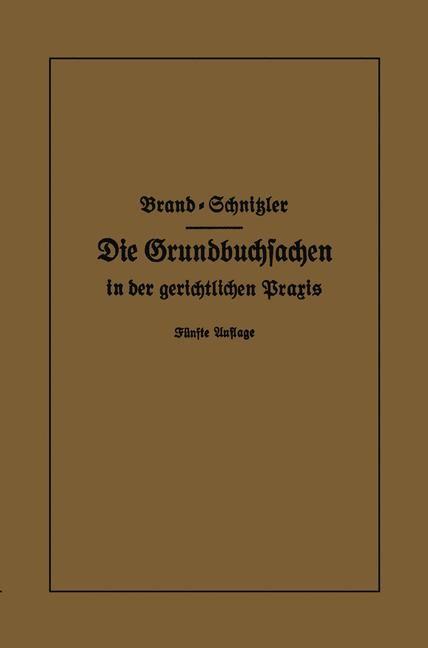 Die Grundbuchsachen in der gerichtlichen Praxis | Brand / Schnitzler, 1931 | Buch (Cover)