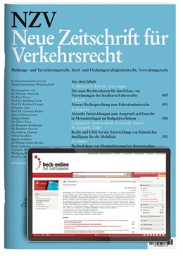 Abbildung von NZV • Neue Zeitschrift für Verkehrsrecht | 33. Jahrgang | 2020 | Haftungs- und Versicherungsrec...