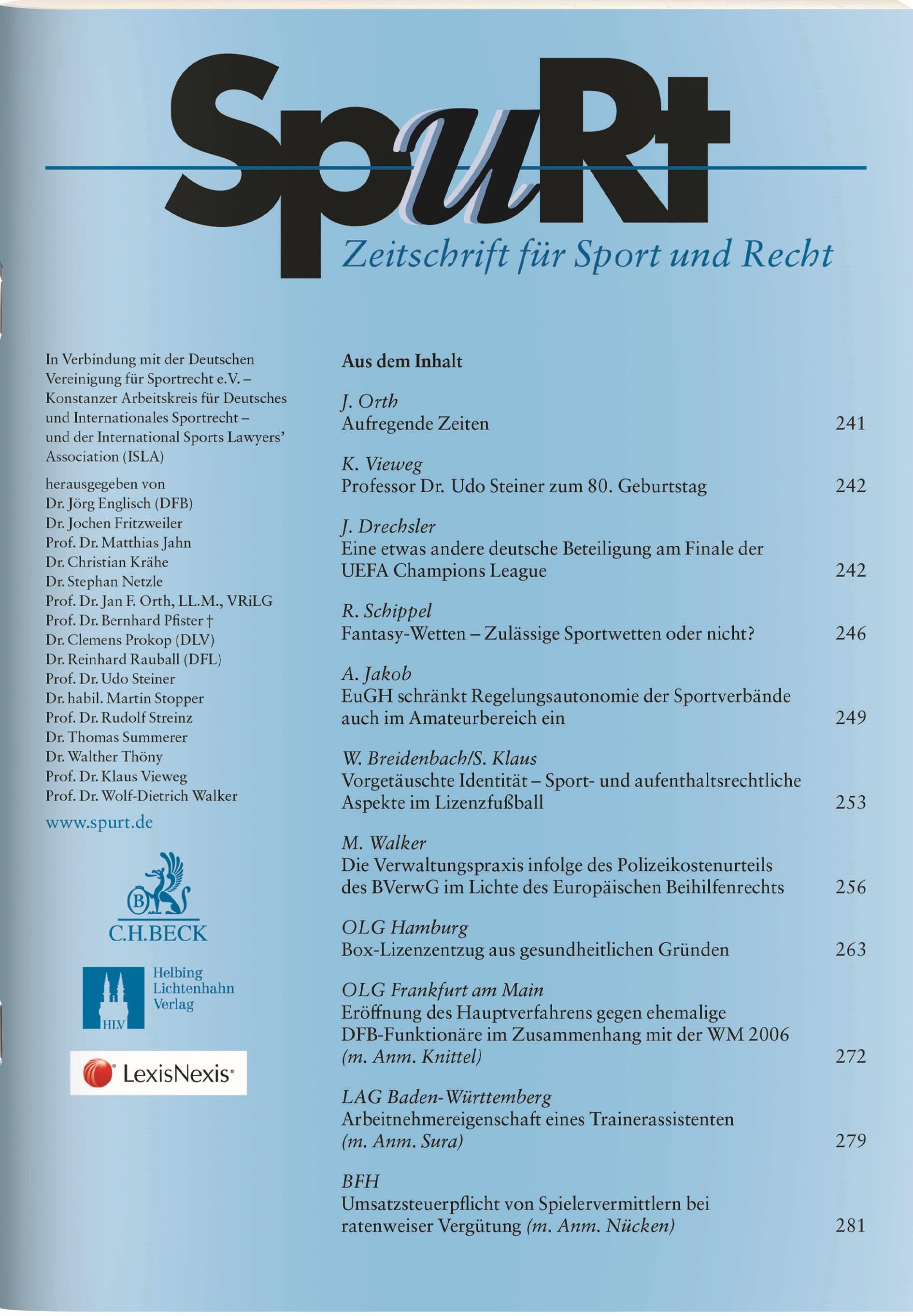 SpuRt • Zeitschrift für Sport und Recht | 25. Jahrgang (Cover)
