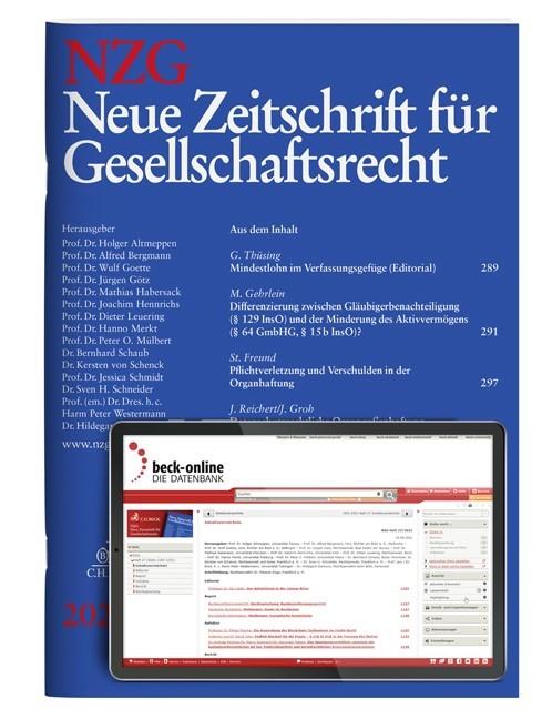 NZG • Neue Zeitschrift für Gesellschaftsrecht | 21. Jahrgang (Cover)
