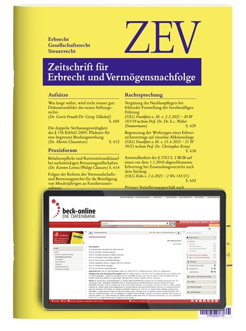 ZEV • Zeitschrift für Erbrecht und Vermögensnachfolge (Cover)