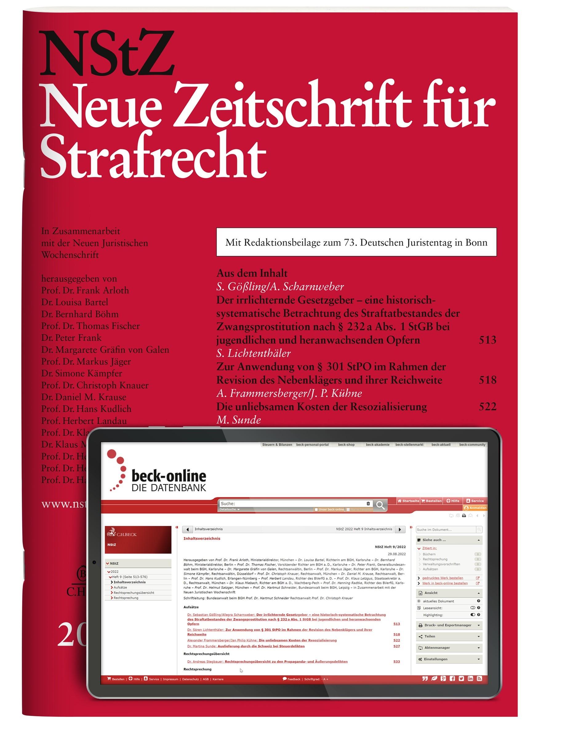 NStZ • Neue Zeitschrift für Strafrecht | 38. Jahrgang (Cover)