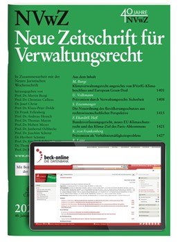 Abbildung von NVwZ • Neue Zeitschrift für Verwaltungsrecht + NVwZ-RR • Rechtsprechungs-Report Verwaltungsrecht | 39. bzw. 33. Jahrgang. | 2020