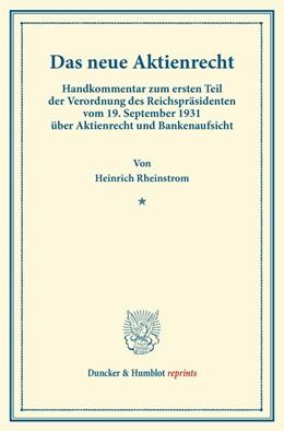 Abbildung von Rheinstrom | Das neue Aktienrecht. | 2013 | Handkommentar zum ersten Teil ...