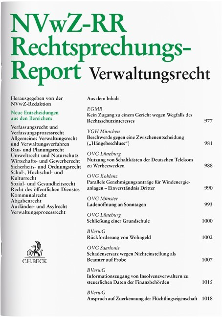 NVwZ-RR • Rechtsprechungs-Report Verwaltungsrecht | 30. Jahrgang (Cover)